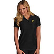 Antigua Women's Pittsburgh Pirates Illusion Black Striped Performance Polo