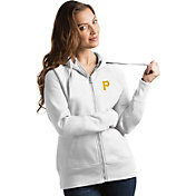 Antigua Women's Pittsburgh Pirates White Victory Full-Zip Hoodie