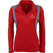 Antigua Women's Boston Red Sox Delta Red Quarter-Zip Pullover