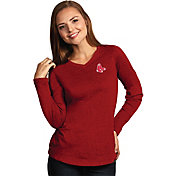 Antigua Women's Boston Red Sox Flip Red Long Sleeve V-Neck Shirt