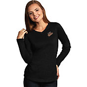 Antigua Women's Baltimore Orioles Flip Black Long Sleeve V-Neck Shirt