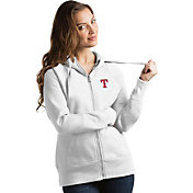 Antigua Women's Texas Rangers White Victory Full-Zip Hoodie