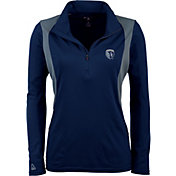 Antigua Women's Sporting Kansas City Navy Delta Quarter-Zip Pullover Top
