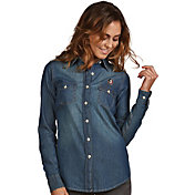 Antigua Women's Florida State Seminoles Long Sleeve Button Up Chambray Shirt