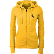 Antigua Women's Wyoming Cowboys Gold Full-Zip Hoodie