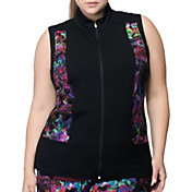 Rainbeau Curves Women's Plus Size Carrie Print Zip Up Vest