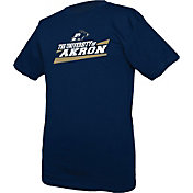 boxercraft Men's Akron Zips Navy Just for You Crew Wordmark and Logo T-Shirt