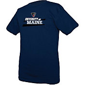 boxercraft Men's Maine Black Bears Navy Just for You Crew Wordmark and Logo T-Shirt
