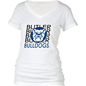 boxercraft Women's Butler Bulldogs Perfect Fit V-Neck White T-Shirt