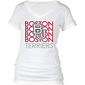 boxercraft Women's Boston Terriers Perfect Fit V-Neck White T-Shirt