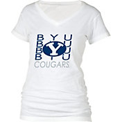 boxercraft Women's BYU Cougars Perfect Fit V-Neck White T-Shirt