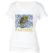 boxercraft Women's FIU Golden Panthers Perfect Fit V-Neck White T-Shirt