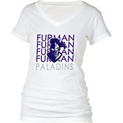 boxercraft Women's Furman Paladins Perfect Fit V-Neck White T-Shirt