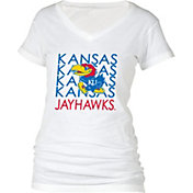 boxercraft Women's Kansas Jayhawks Perfect Fit V-Neck White T-Shirt