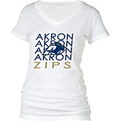 boxercraft Women's Akron Zips Perfect Fit V-Neck White T-Shirt