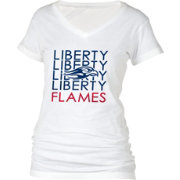 boxercraft Women's Liberty Flames Perfect Fit V-Neck White T-Shirt