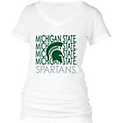 boxercraft Women's Michigan State Spartans Perfect Fit V-Neck White T-Shirt