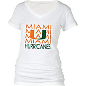 boxercraft Women's Miami Hurricanes Perfect Fit V-Neck White T-Shirt