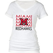 boxercraft Women's Miami Redhawks Perfect Fit V-Neck White T-Shirt