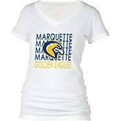 boxercraft Women's Marquette Golden Eagles Perfect Fit V-Neck White T-Shirt