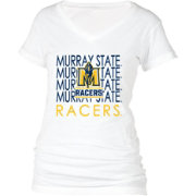 boxercraft Women's Murray State Racers Perfect Fit V-Neck White T-Shirt