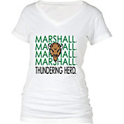 boxercraft Women's Marshall Thundering Herd Perfect Fit V-Neck White T-Shirt