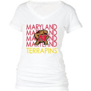 boxercraft Women's Maryland Terrapins Perfect Fit V-Neck White T-Shirt