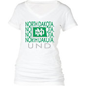boxercraft Women's North Dakota Fighting Hawks Perfect Fit V-Neck White T-Shirt