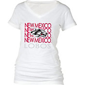 boxercraft Women's New Mexico Lobos Perfect Fit V-Neck White T-Shirt