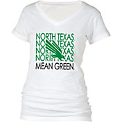 boxercraft Women's North Texas Mean Green Perfect Fit V-Neck White T-Shirt