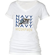 boxercraft Women's Navy Midshipmen Perfect Fit V-Neck White T-Shirt