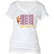 boxercraft Women's Arizona State Sun Devils Perfect Fit V-Neck White T-Shirt