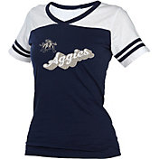 boxercraft Women's Utah State Aggies Blue/White Powder Puff T-Shirt