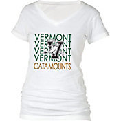 boxercraft Women's Vermont Catamounts Perfect Fit V-Neck White T-Shirt