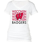 boxercraft Women's Wisconsin Badgers Perfect Fit V-Neck White T-Shirt