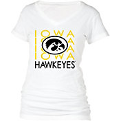 boxercraft Women's Iowa Hawkeyes Perfect Fit V-Neck White T-Shirt