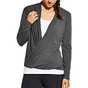 CALIA by Carrie Underwood Women's Front Wrap Heather Long Sleeve Shirt