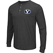 Colosseum Athletics Men's BYU Cougars Charcoal Long Sleeve Henley T-Shirt