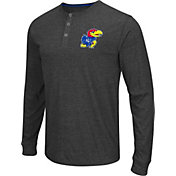 Colosseum Athletics Men's Kansas Jayhawks Charcoal Long Sleeve Henley T-Shirt
