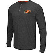 Colosseum Athletics Men's Oklahoma State Cowboys Charcoal Long Sleeve Henley T-Shirt