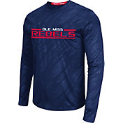 Colosseum Athletics Men's Ole Miss Rebels Blue Sleet Long Sleeve Performance Shirt