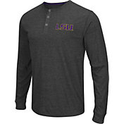 Colosseum Athletics Men's LSU Tigers Charcoal Long Sleeve Henley T-Shirt