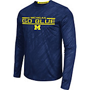 Colosseum Athletics Men's Michigan Wolverines Blue Sleet Long Sleeve Performance Shirt