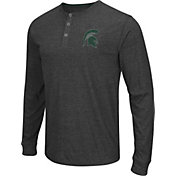 Colosseum Athletics Men's Michigan State Spartans Charcoal Long Sleeve Henley T-Shirt