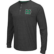 Colosseum Athletics Men's Marshall Thundering Herd Charcoal Long Sleeve Henley T-Shirt