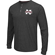 Colosseum Athletics Men's Mississippi State Bulldogs Charcoal Long Sleeve Henley T-Shirt