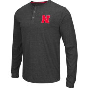 Colosseum Athletics Men's Nebraska Cornhuskers Charcoal Long Sleeve Henley T-Shirt