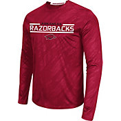 Colosseum Athletics Men's Arkansas Razorbacks Cardinal Sleet Long Sleeve Performance Shirt