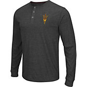 Colosseum Athletics Men's Arizona State Sun Devils Charcoal Long Sleeve Henley T-Shirt