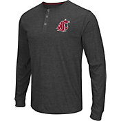 Colosseum Athletics Men's Washington State Cougars Charcoal Long Sleeve Henley T-Shirt
